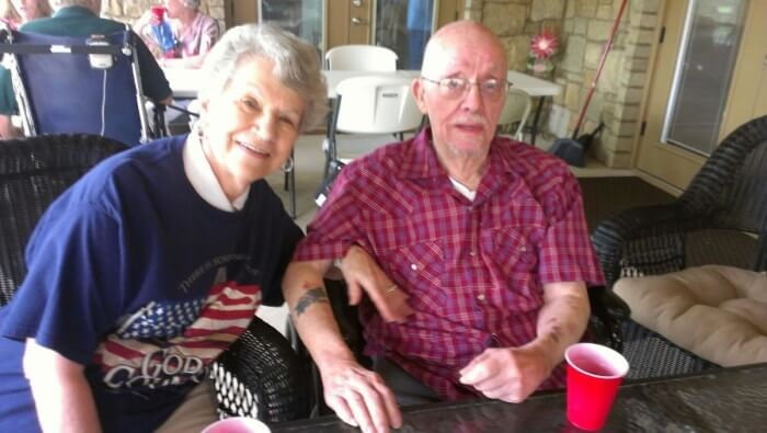 Ron and Arley feel patriotic at the Tiffin House Memorial Day Picnic